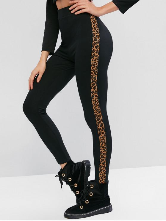 latest ZAFUL Side Leopard High Waisted Leggings - MULTI-A L