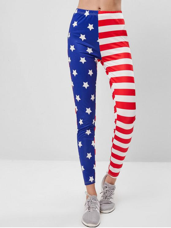 outfit ZAFUL Stars and Striped American Flag Leggings - MULTI S