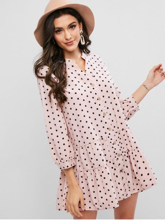 trendy Polka Dot Flounce V Neck Tunic Shirt Dress - LIGHT PINK XL