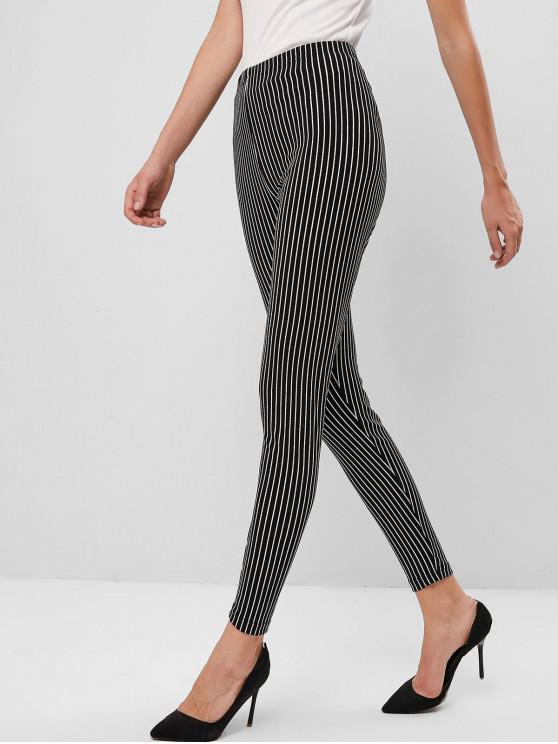 unique ZAFUL Striped High Rise Skinny Leggings - BLACK XL