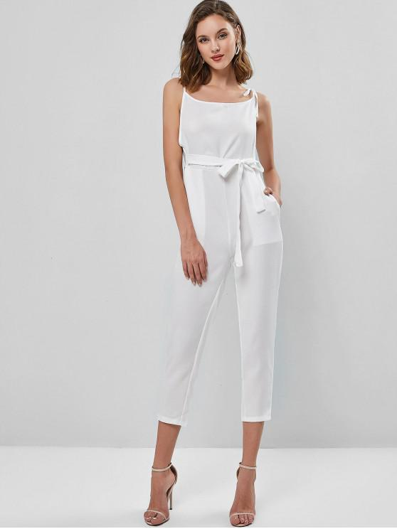 womens Sleeveless Tie Shoulder Belted Pocket Jumpsuit - WHITE S