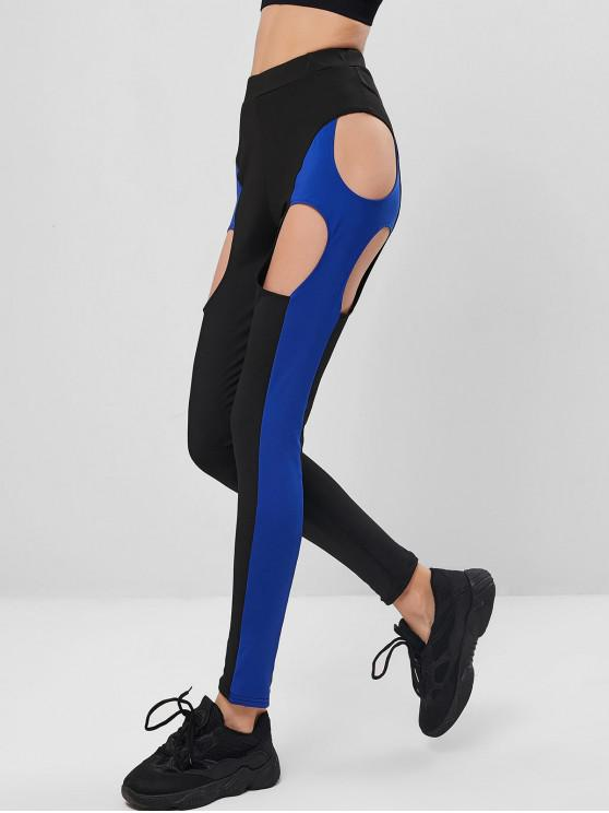affordable Color Block Cut Out High Waisted Leggings - MULTI-B M