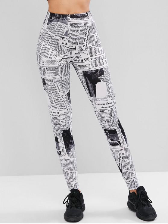 lady ZAFUL Newspaper Print High Waisted Leggings - WHITE L