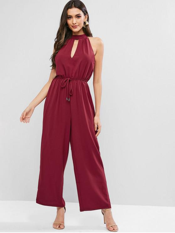 latest Keyhole Tied Cutout Wide Leg Jumpsuit - RED WINE XL