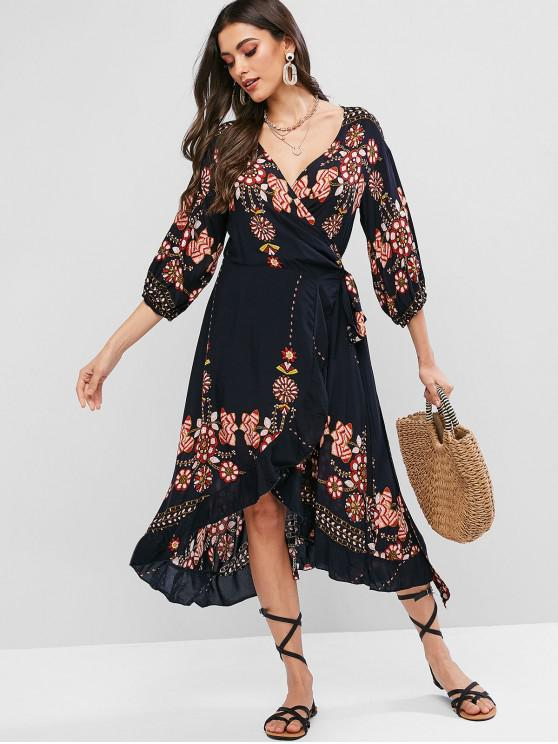 buy ZAFUL Flower Print Midi Flounce Wrap Casual Dress - MULTI-A S