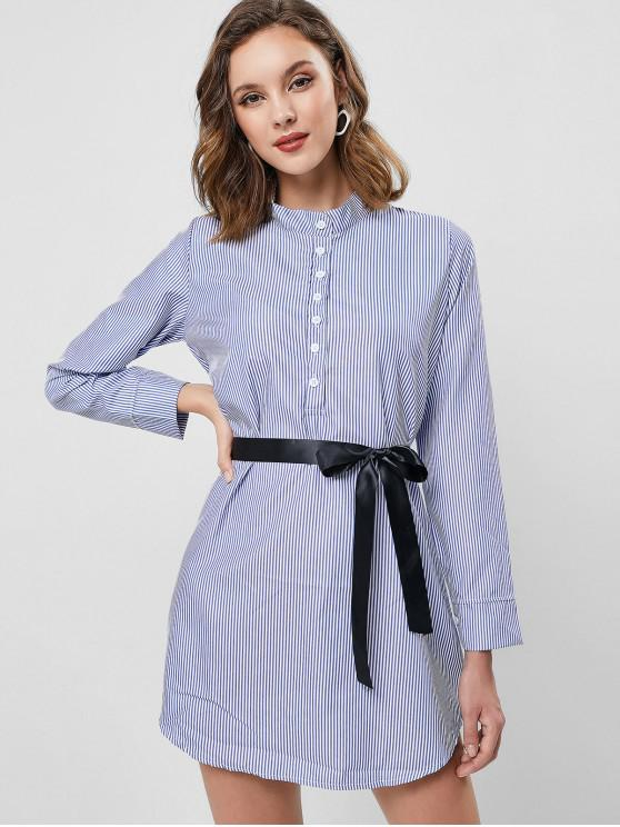 lady Striped Half Button Belted Dress - BLUE L