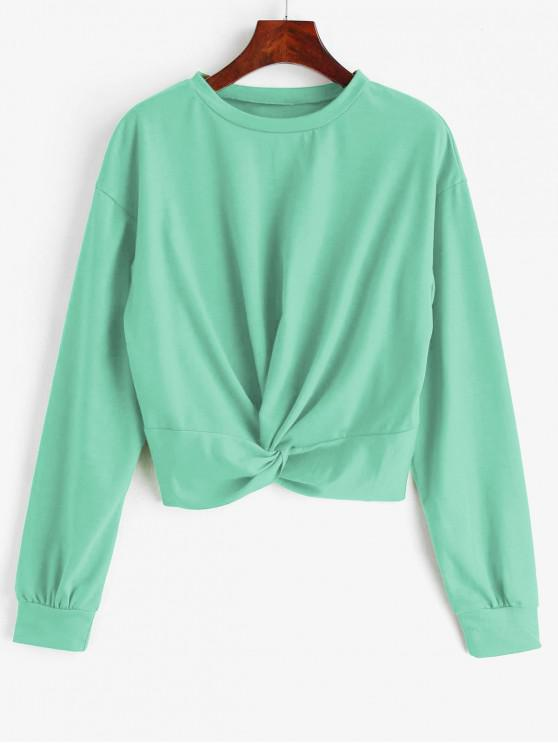 ZAFUL Sweatshirt Simple Tordu en Avant - Vert Menthe S