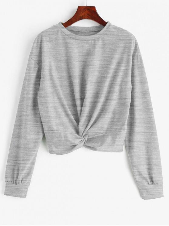 latest ZAFUL Twist Front Plain Sweatshirt - LIGHT GRAY S