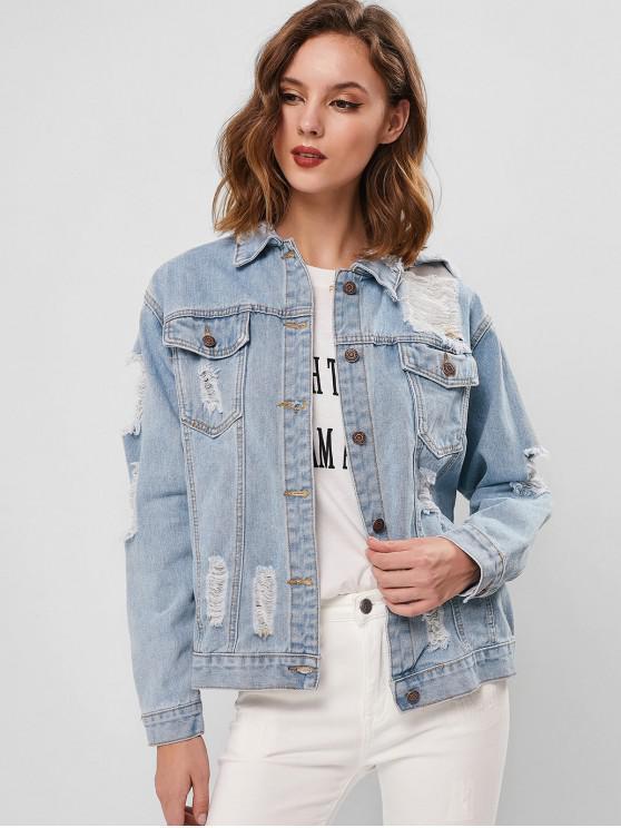 buy Ripped Pocket Drop Shoulder Denim Jacket - DENIM BLUE L