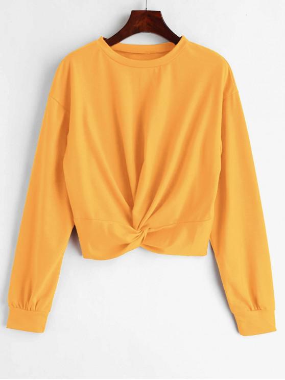 women ZAFUL Twist Front Plain Sweatshirt - YELLOW XL