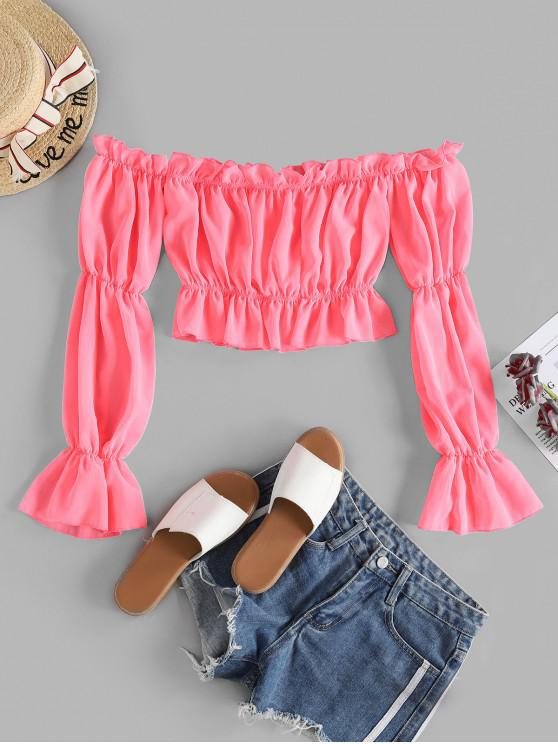 fashion Off Shoulder Ruffle Crop Blouse - ROSE RED S