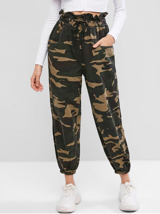 latest Camouflage Print Pockets Paperbag Jogger Pants - ACU CAMOUFLAGE S