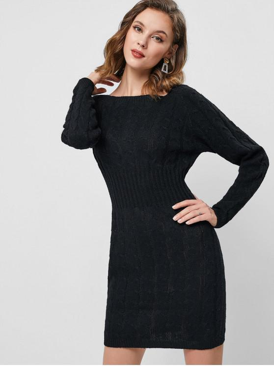 chic Raglan Sleeve Cable Knit Mini Sweater Dress - BLACK ONE SIZE