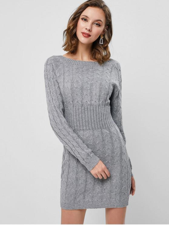 Raglan Ärmel Zopfmuster Minipullover Kleid - Hellgrau Eine Größe
