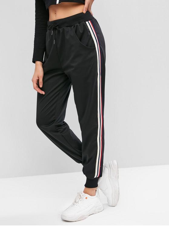 affordable Pocket Striped Tape Drawstring Jogger Pants - BLACK S