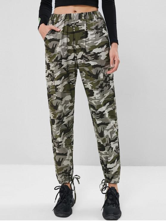 ladies Drawstring Hem Camouflage Pockets Jogger Pants - ACU CAMOUFLAGE M