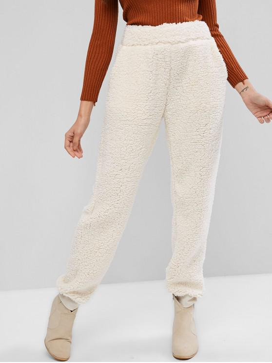 hot High Waisted Pockets Jogger Teddy Pants - WHITE M