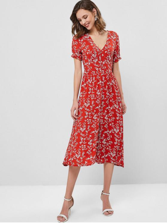 sale ZAFUL Floral V Neck A Line Midi Slit Dress - CHESTNUT RED M
