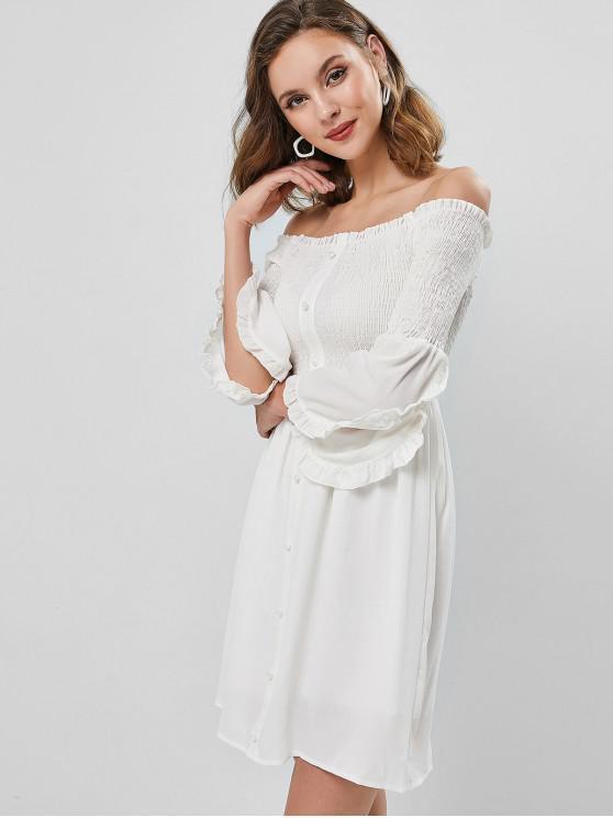 women Off Shoulder Smocked Petal Sleeve Dress - WHITE L