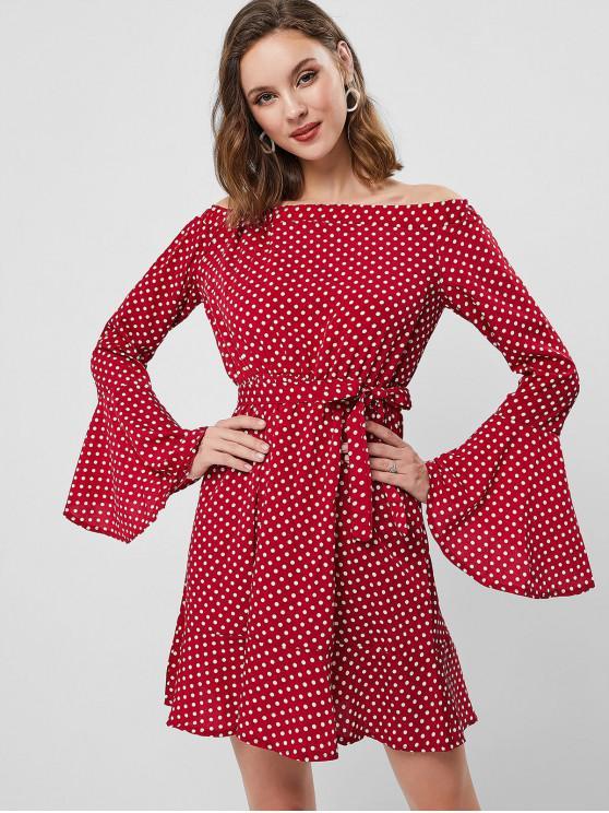 women Polka Dot Off Shoulder Flare Sleeve Dress - RED XL