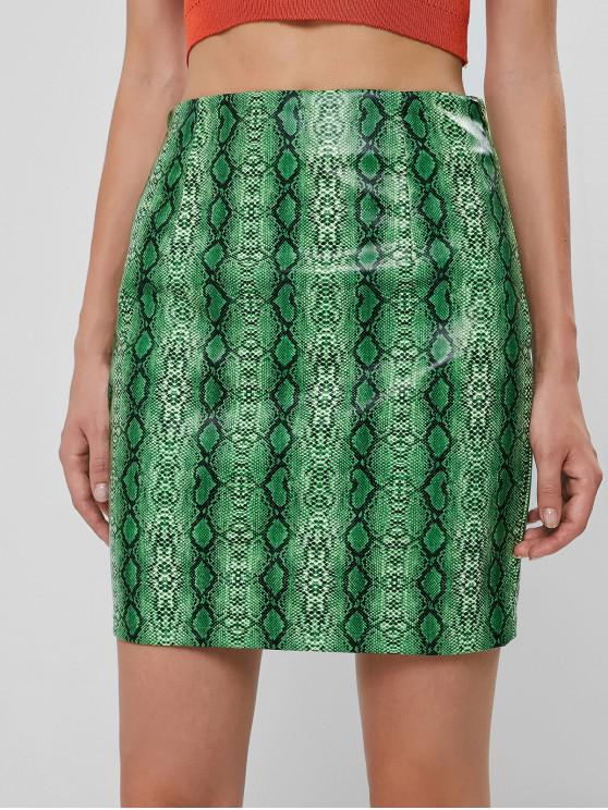 women's ZAFUL Snakeskin Print PU Mini Skirt - PINE GREEN L