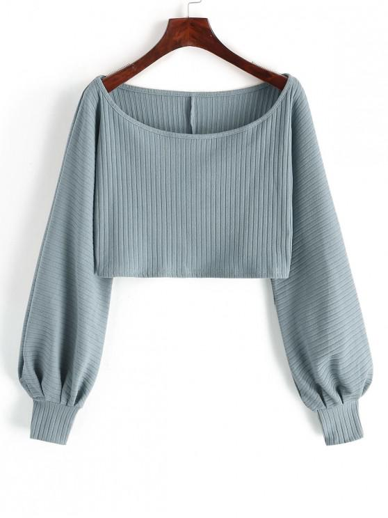 fashion Lantern Sleeve Ribbed Cropped Top - BLUE GRAY L