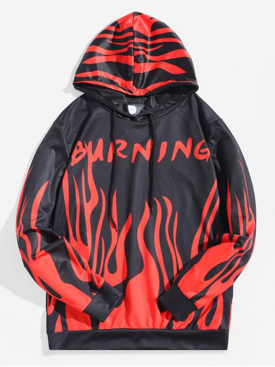 fancy Burning Fire Print Pullover Halloween Hoodie - LAVA RED XL
