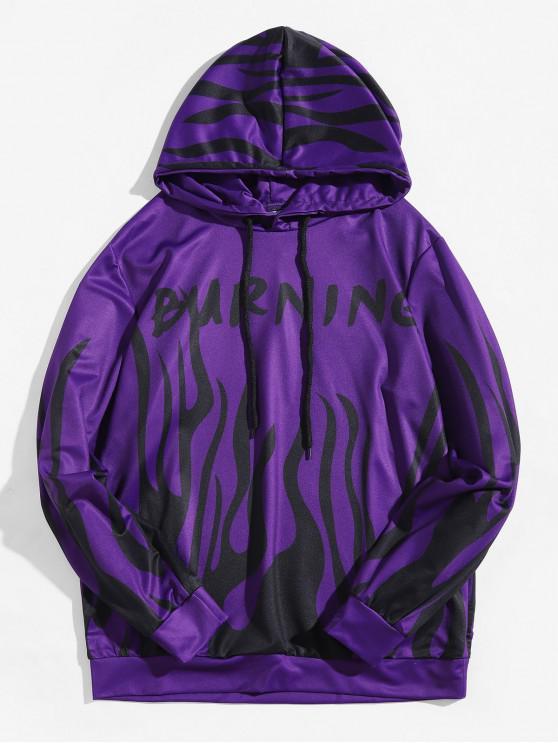 affordable Burning Fire Print Pullover Halloween Hoodie - VIOLA PURPLE XL