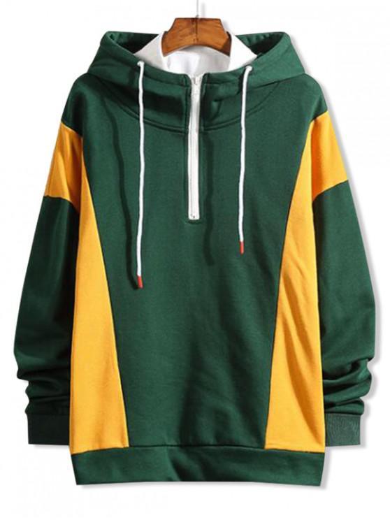 fancy Color Block Splicing Half Zipper Pullover Hoodie - MEDIUM SEA GREEN S