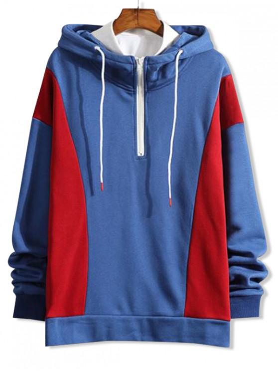 unique Color Block Splicing Half Zipper Pullover Hoodie - DODGER BLUE XL