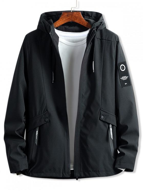 sale Letter Patch Solid Zipper Hooded Jacket - BLACK XS