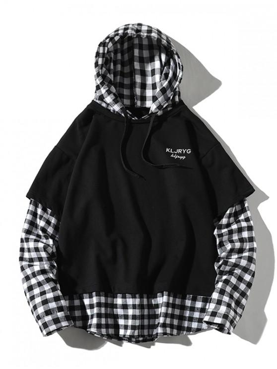 latest Letter Embroidery Plaid Splicing Faux Twinset Hoodie - BLACK 2XL