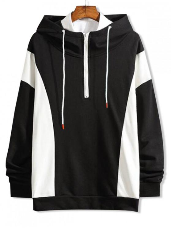 outfit Color Block Splicing Half Zipper Pullover Hoodie - BLACK XS