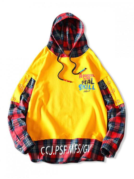 affordable Letter Graphic Print Pinclip Patch Plaid Splicing Hoodie - RUBBER DUCKY YELLOW XS