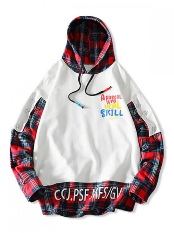 women Letter Graphic Print Pinclip Patch Plaid Splicing Hoodie - WHITE 2XL