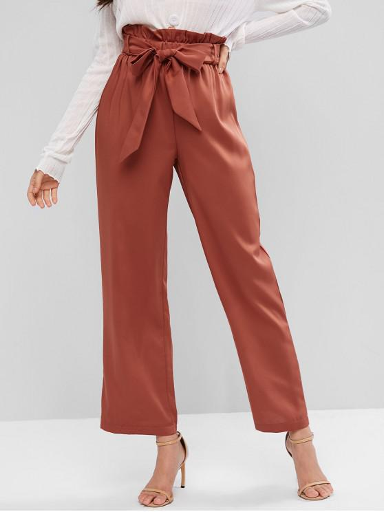 fancy ZAFUL High Waisted Wide Leg Belted Paperbag Pants - CHESTNUT RED L