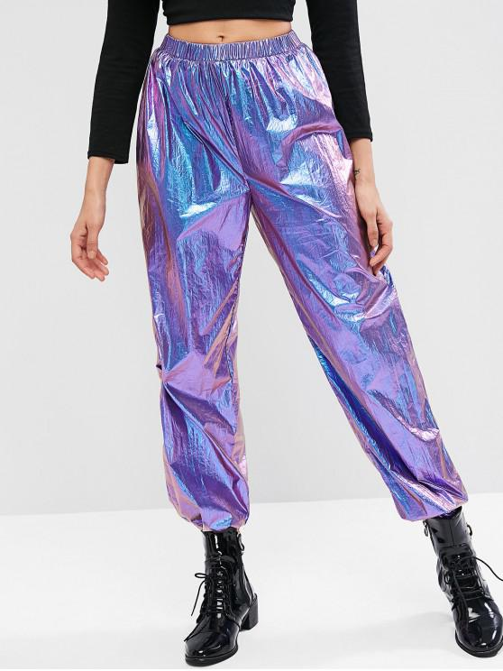 sale ZAFUL Metallic High Waisted Jogger Pants - PURPLE M