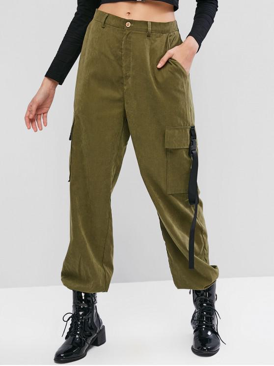 Pantalones casuales con bolsillo de hebilla de cintura alta ZAFUL - Ejercito Verde L