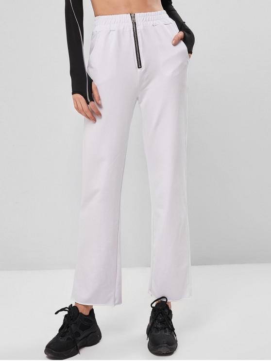 women Zipper High Waisted Pocket Straight Pants - WHITE S