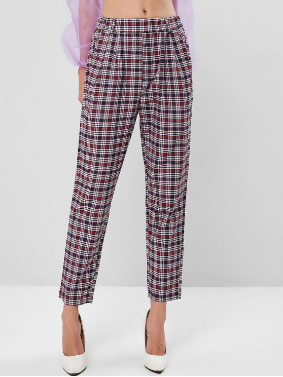 Pantalones de cintura alta con bolsillo a cuadros - Multicolor S