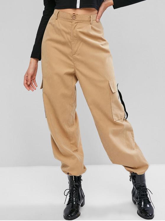 Pantaloni jogger a vita alta con cerniera a tasca laterale con zip ZAFUL - Cachi L