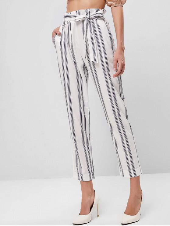 lady Belted Stripes Cuffed Hem Paperbag Pants - WHITE S