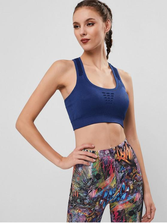 women Perforated Padded Racerback Sport Bra - CADETBLUE M