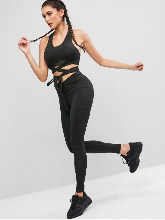 outfits Racerback Criss Cross Sports Bra Two Piece Suit - BLACK L