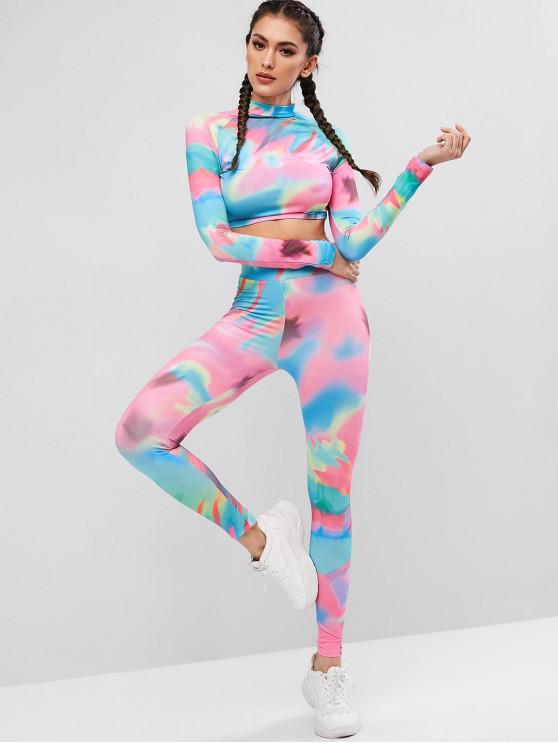 fashion Raglan Sleeve Rainbow Tie Dye Two Piece Sports Suit - MULTI M