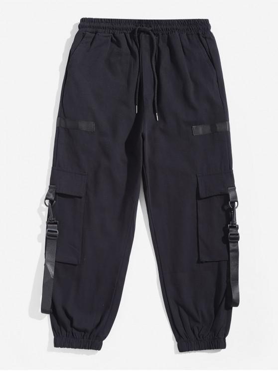 Pantalones de chándal con cordón de color sólido con diseño de cinta - Negro 2XL