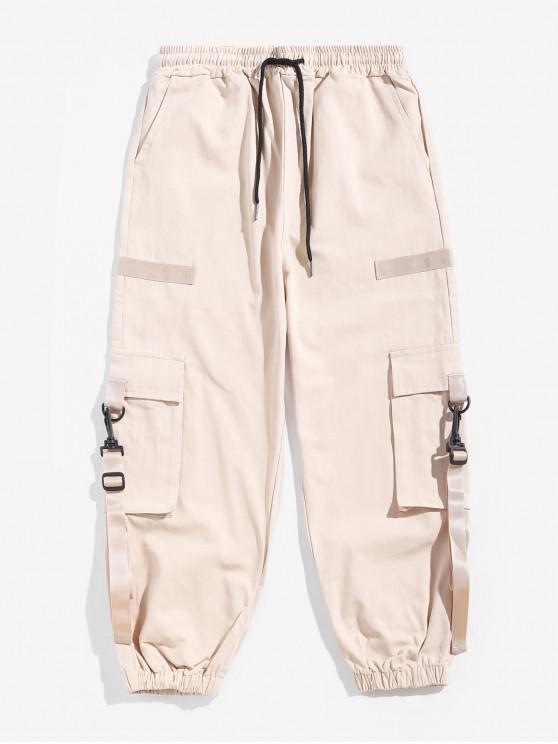 unique Ribbon Design Solid Color Drawstring Jogger Pants - MILK WHITE 2XL