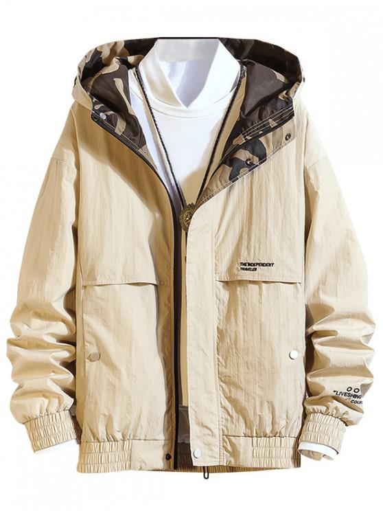 women's Letter Embroidered Zipper Up Casual Jacket - LIGHT KHAKI S