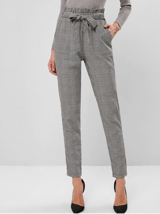 ladies ZAFUL Plaid High Waisted Pocket Pencil Paperbag Pants - MULTI-A L