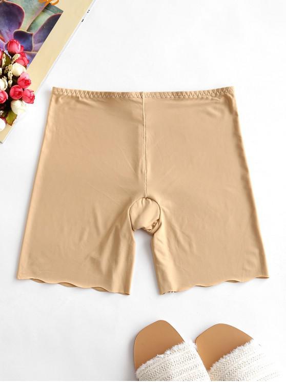 trendy Scalloped Trim Slip Shorts - TAN ONE SIZE